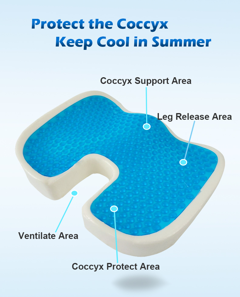 PurenLatex 4636 U Shape Silicone Gel Cushion Memory Foam Pillow Coccyx Protect Slow Rebound Summer Cool Chair Cushion Seat Mat-xq (5)