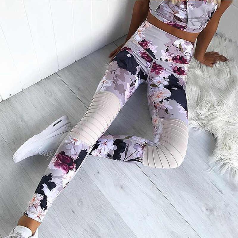 Spor giyim kadın spor salonu koşu Leggins moda rahat seksi boyun baskı egzersiz pantolonları yelek giyim seti conjunto deportivo mujer