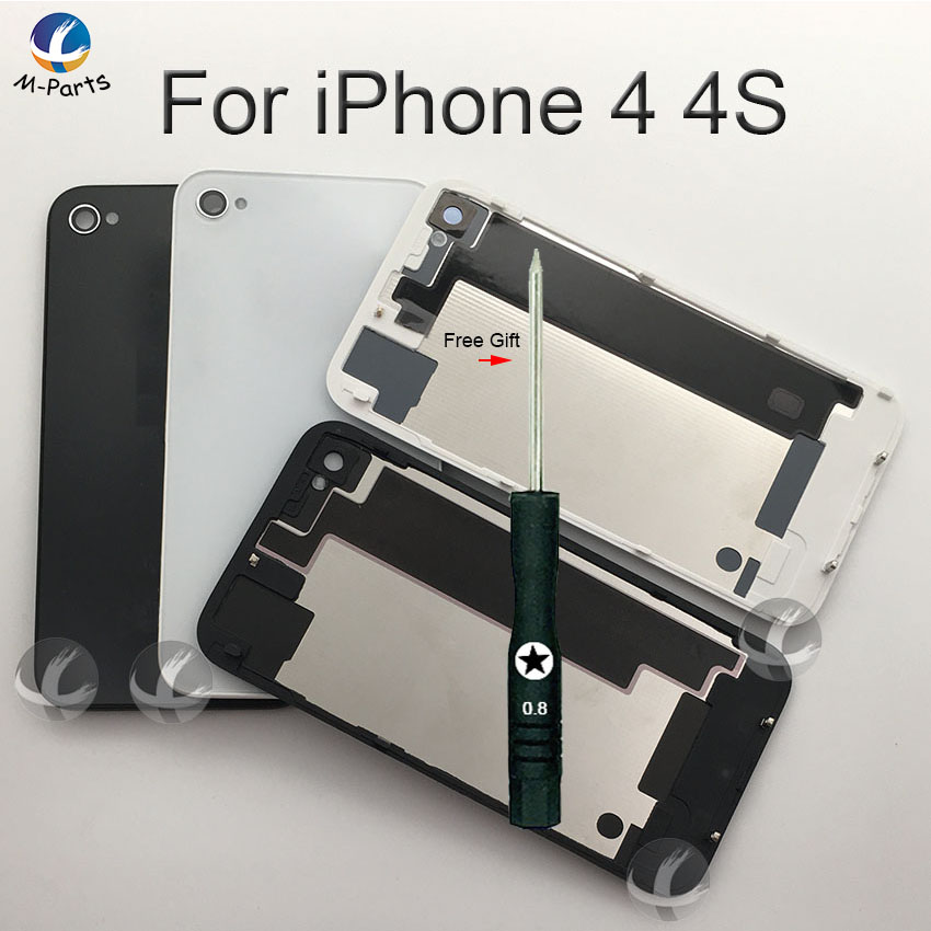 Free Gift Back Glass Housing For IPhone 4 4S Rear Crystal Panel Plate Battery Cover Lid Door Housing Shell OEM New White Black