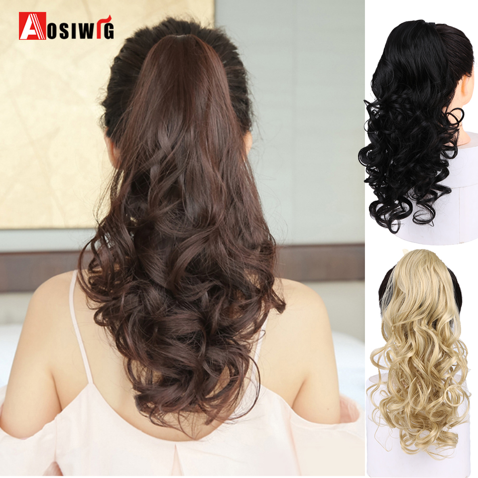 AOSIWIG Long Wavy Ponytail Drawstring Wrap Hair Ponytail Extension Heat Resistant Synthetic Natural Fake Hairpieces For Women