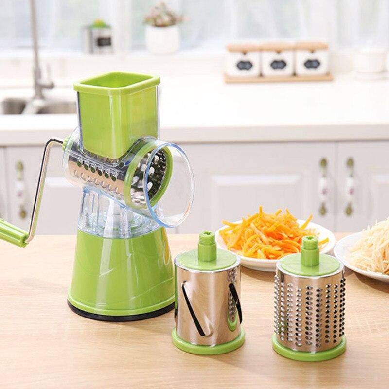 Manual Vegetable Roller Cutter Slicer Multifunctional Round Mandoline Slicer Potato Carrot Cheese Handheld Food Kitchen Gadgets