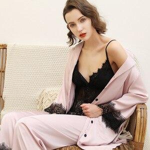 Image 1 - 2019 avrupa kadın Pijama setleri uzun kollu ipek saten dantel rahat 3 adet setleri kıyafeti Pijama gevşek ince gecelik Pijama