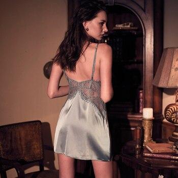 Sexy Women's Sleepwear Perspective Lace Nightdress Thin  Homewear Nightwear Silk Sleeveless Nightgown Night Dress Size M-XXL 4