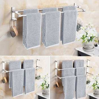 Punch-free Aluminum Bathroom Fixture Bath Hardware Set Towel Shelf Bar Rack Hooks Accessories
