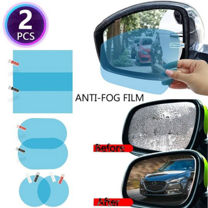 2Pcs Car Rearview Mirror Anti Fog Side Window Film Waterproof Protective Anti-Fog Rainproof Membrane Anti-Glare Foil Sticker