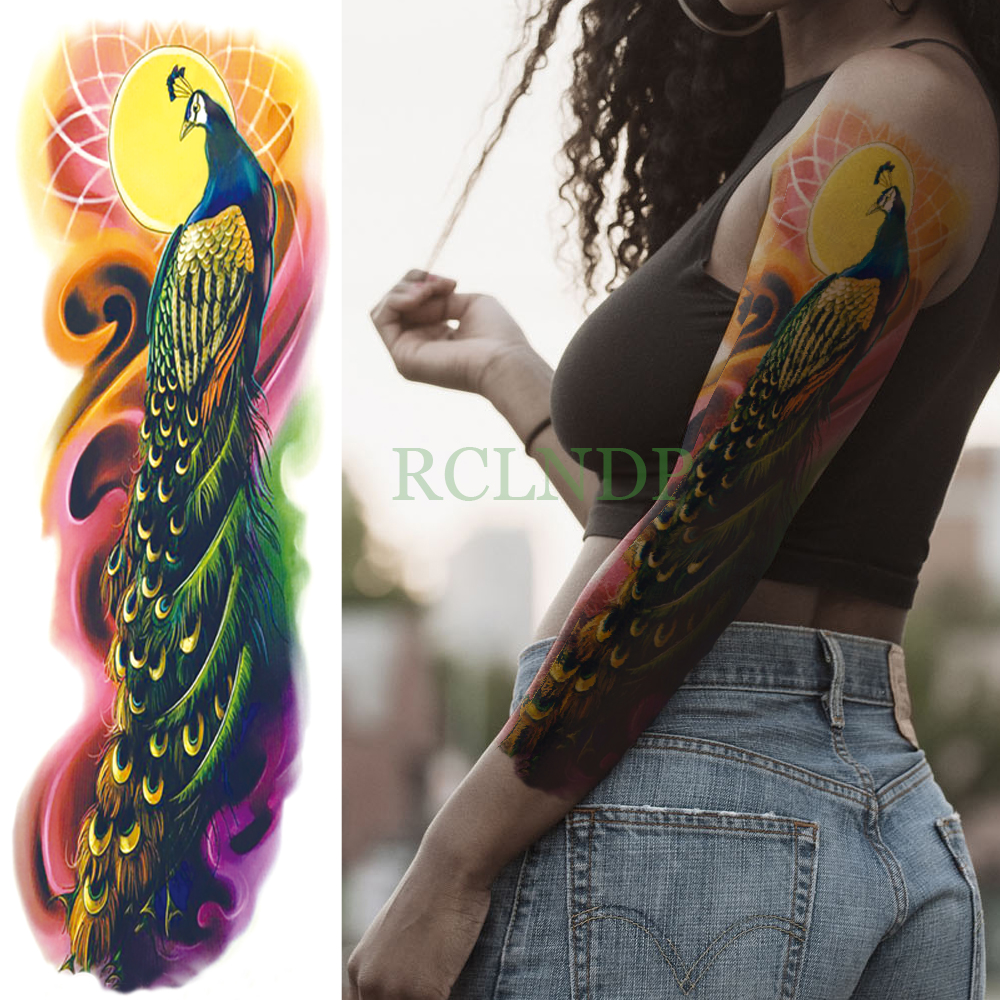 Waterproof Temporary Tattoo Sticker Peacock Full Arm Fake Tatto Feather Animal Flash Tatoo Sleeve Large Size For Men Women Lady