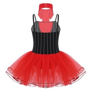 Image 2 - Costume de danse de cirque pour filles, Costume avec cravate de gymnastique, justaucorps de Ballet, jupes Tutu, robe de patinage artistique, de noël
