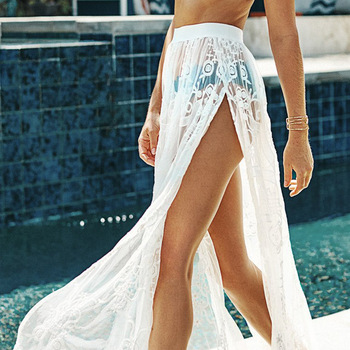 Women´s Sexy Cover-up Skirt Fashion Summer Lace Bathing Suit Solid Smock High Split Beachwear