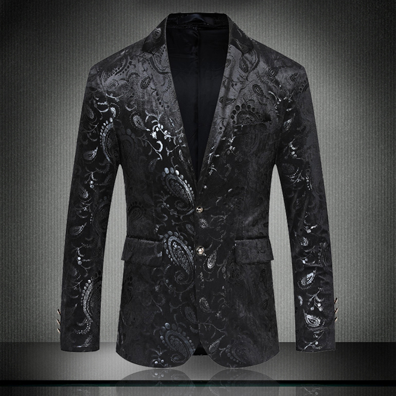 MarKyi Fashion Floral Black Wool Business Blazer For Men 2020 Brand New Long Sleeve Party Blazers Homme