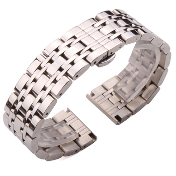 18mm 20mm 22mm Metal Watchbands Bracelet Silver Polished Stainless Steel Clocks Watch Strap Accessories