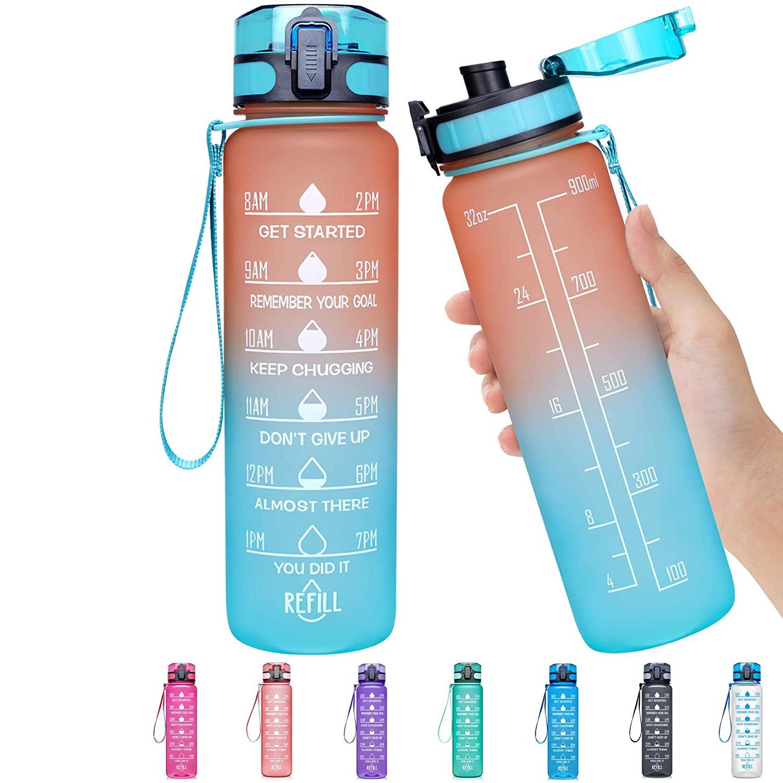 Sport-Water-Bottles Plastic Tritan Bpa-Free Large-Capacity Leak-Proof Anti-Fall Gym 32oz/1l