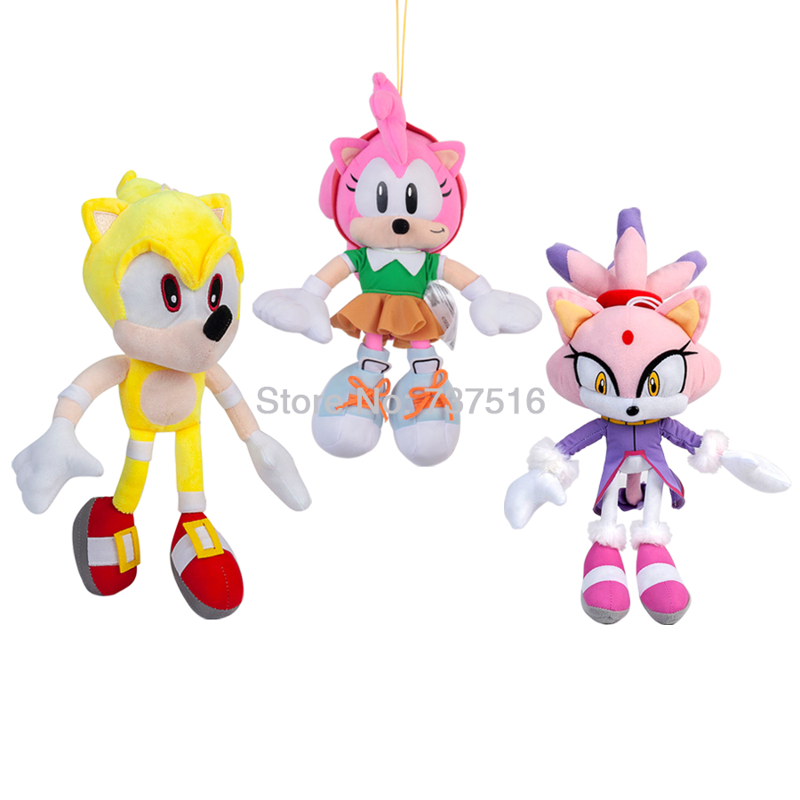 New Series Super Sonic Purple Lilac Cat Different World Princess Blaze The Cat  Amy Rose Plush Doll Stuffed Toys Gifts