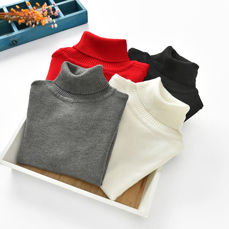 2019 Autumn And Winter New Style Europe And America CHILDREN'S Sweater Baby Base Clothing High Collar Kids' Sweater Dalang
