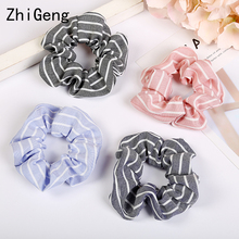4pcs Striped large intestine hair circle retro color fabric accessories girl lovely disk band women Scrunchies
