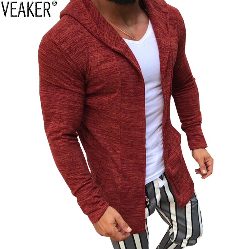 2020 New Men's High Street Long Cardigan Sweaters Male Slim Fit Hooded Cardigans Solid Color Knitted Outerwear Sweater