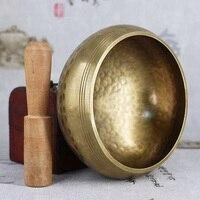 Внимательность декоративный звук Расслабьтесь дома ручной работы Поющая чаша набор Медь Тибетский орнамент Йога, медитация с молотком