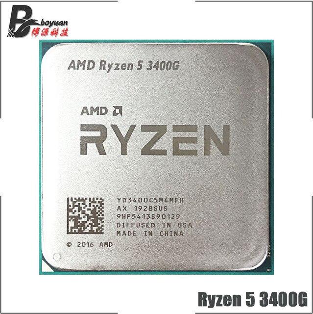 AMD Ryzen 5 3400G R5 3400G 3.7 GHz رباعية النواة ثمانية موضوع 65 واط معالج وحدة المعالجة المركزية YD3400C5M4MFH المقبس AM4