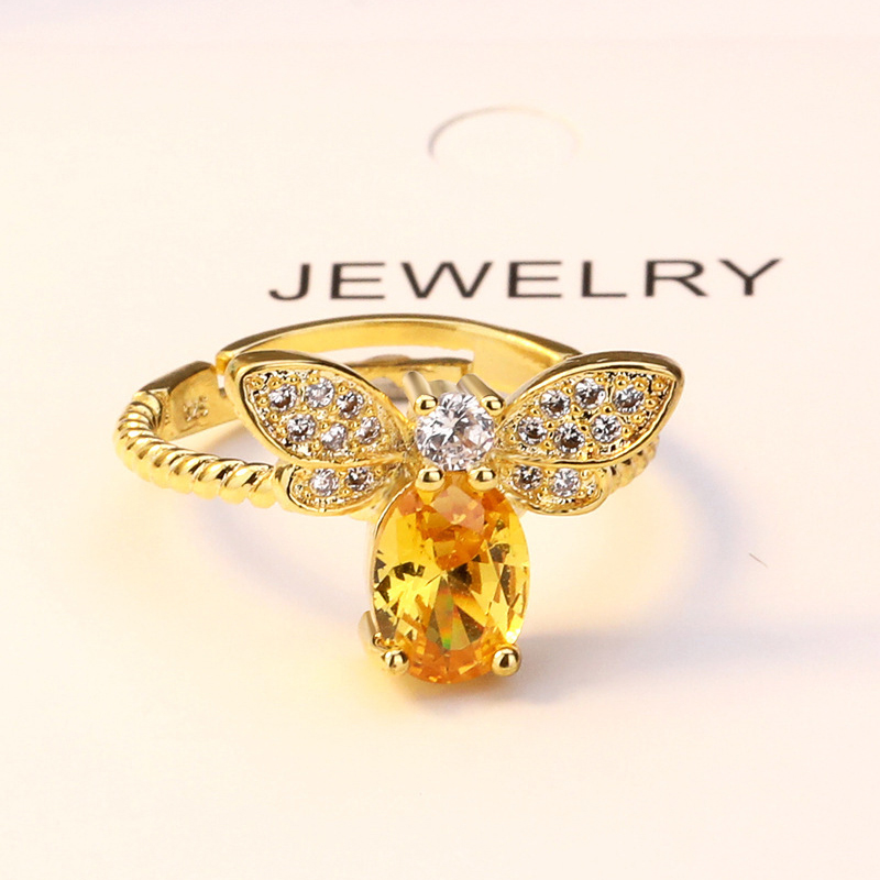 Natural Citrine Rings For Women Cute Bee S925 Sterling Ring 14k Gold Plated Engagement Ring Gemstone Wedding Fine Jewelry