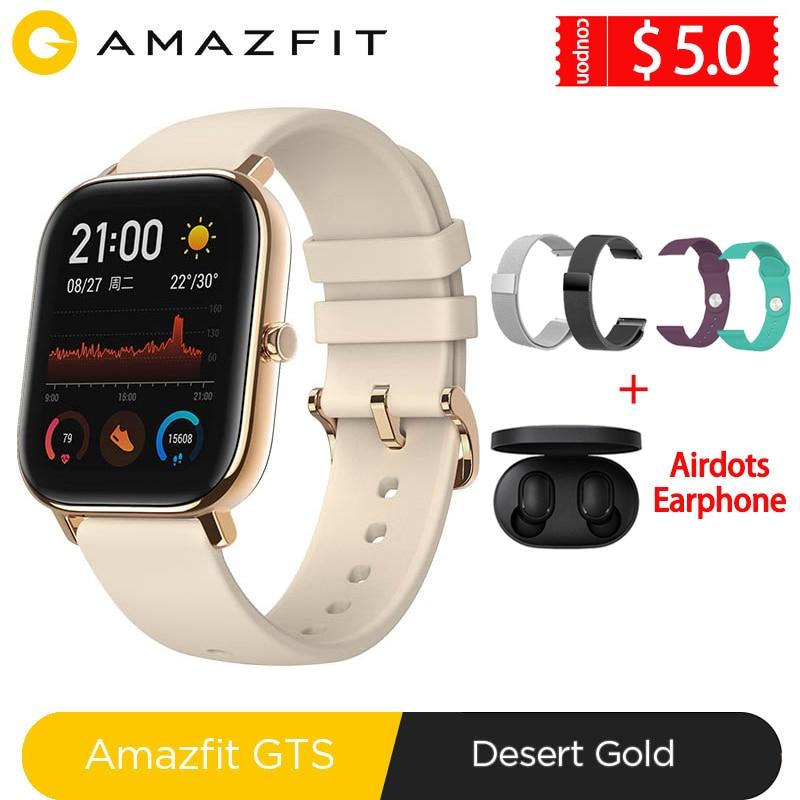 Global Versie Amazfit Gts Smart Horloge 5ATM Waterdichte Zwemmen Smartwatch 14 Dagen Batterij Muziek Controle Voor Xiaomi Ios Telefoon