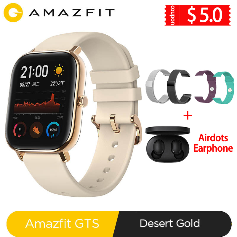 Global Version Amazfit GTS Smart Watch 5ATM Waterproof Swimming Smartwatch 14Days Battery Music Control For Xiaomi IOS Phone