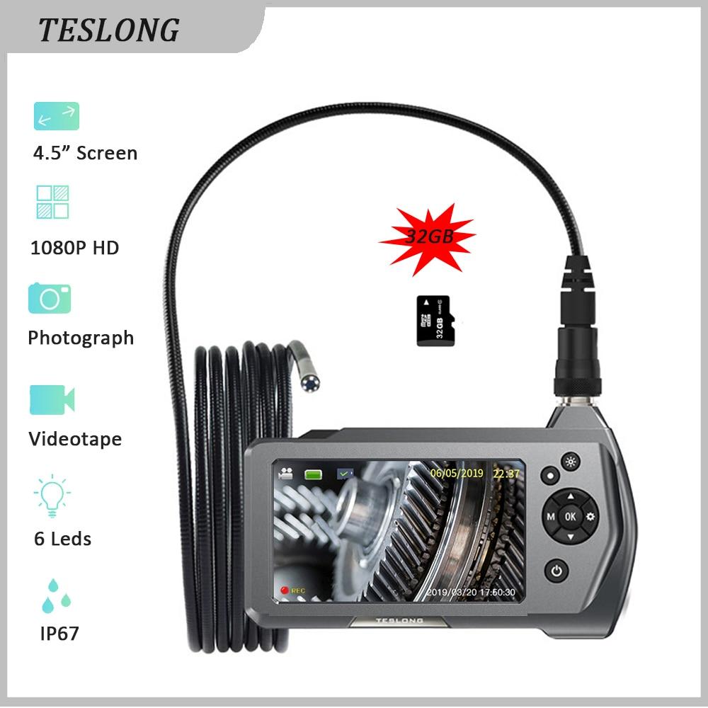 TESLONG NTS450A Car Endoscope Camera 1.0MP HD 4.5'' Screen IP67 Pipe Drain Sewer Inspection Camera 5m Snake Tube 6 LED Borescope