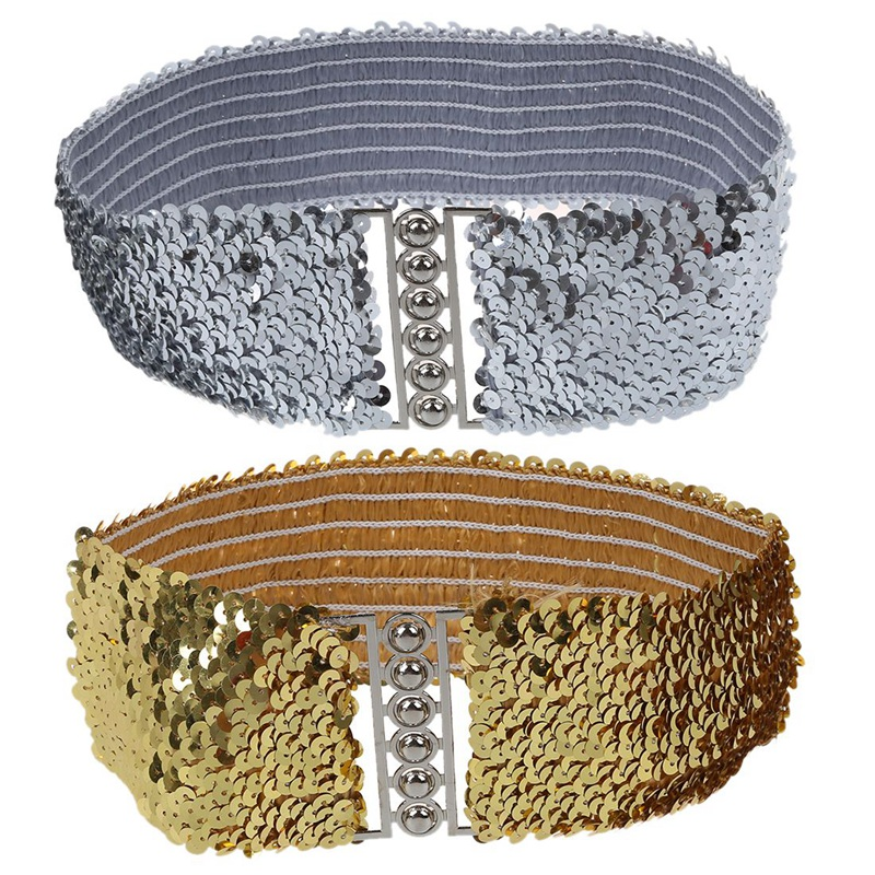 2Pcs Gold/Silver New Ladies Fashion Sequins Elastic Stretch Shinning Waist Band Casual Belt