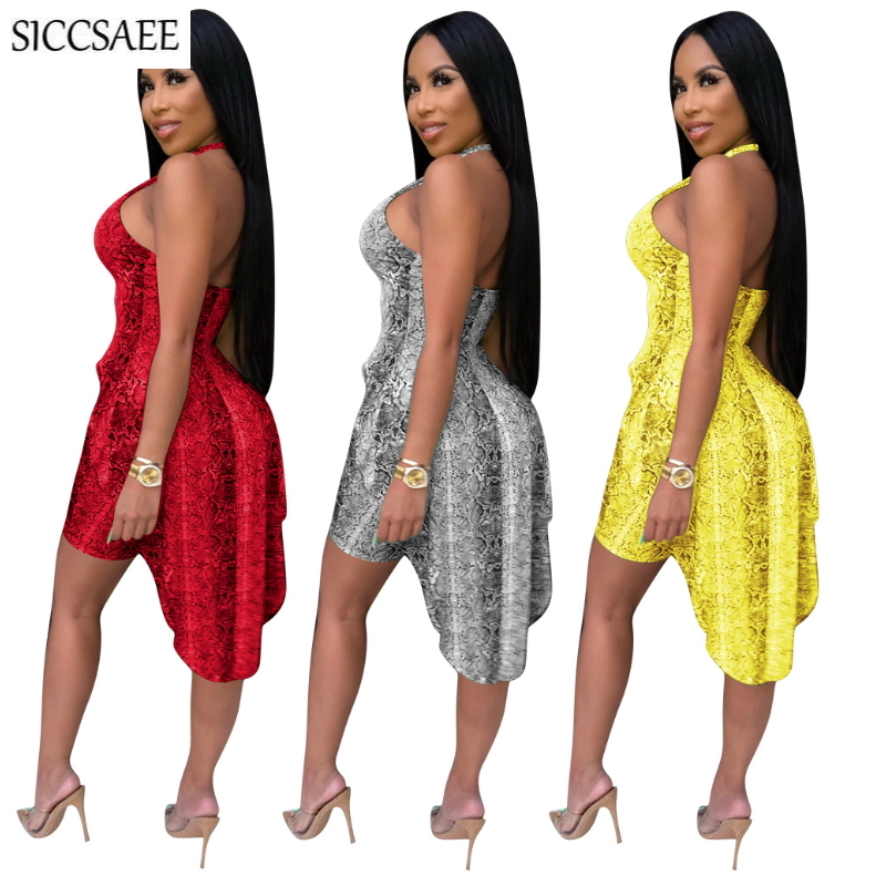 Snake Skin Print Two Piece Set Halter Asymmetrical Tops Backless Bodycon Bodysuit Serpentine Shorts Sets For Women Sexy Clubwear in Women 39 s Sets from Women 39 s Clothing
