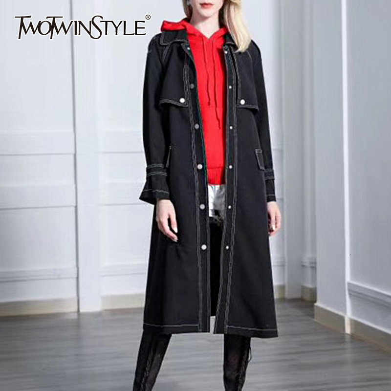 TWOTWINSTYLE Denim Women's Windbreaker Lapel Collar Long Sleeve Single Breasted Pocket Trench Coats Female 2020 Autumn Fashion