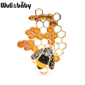 Wuli&baby Enamel Bee Honeycomb Brooches Women Men Alloy Insect Weddings Brooch Pins Gifts(China)
