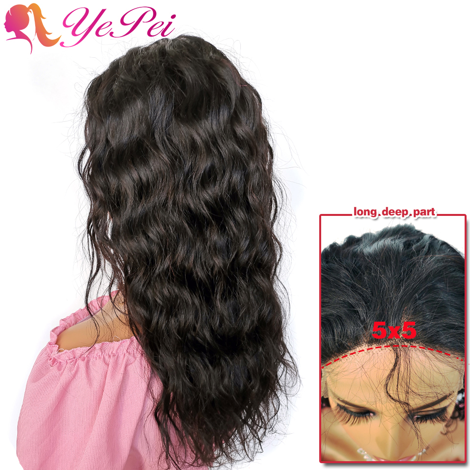 5X5 Lace Closure Wig Brazilian Water Wave Lace Front Human Hair Wigs Pre-Plucked With Baby Hair Remy Closure Wig Yepei Hair