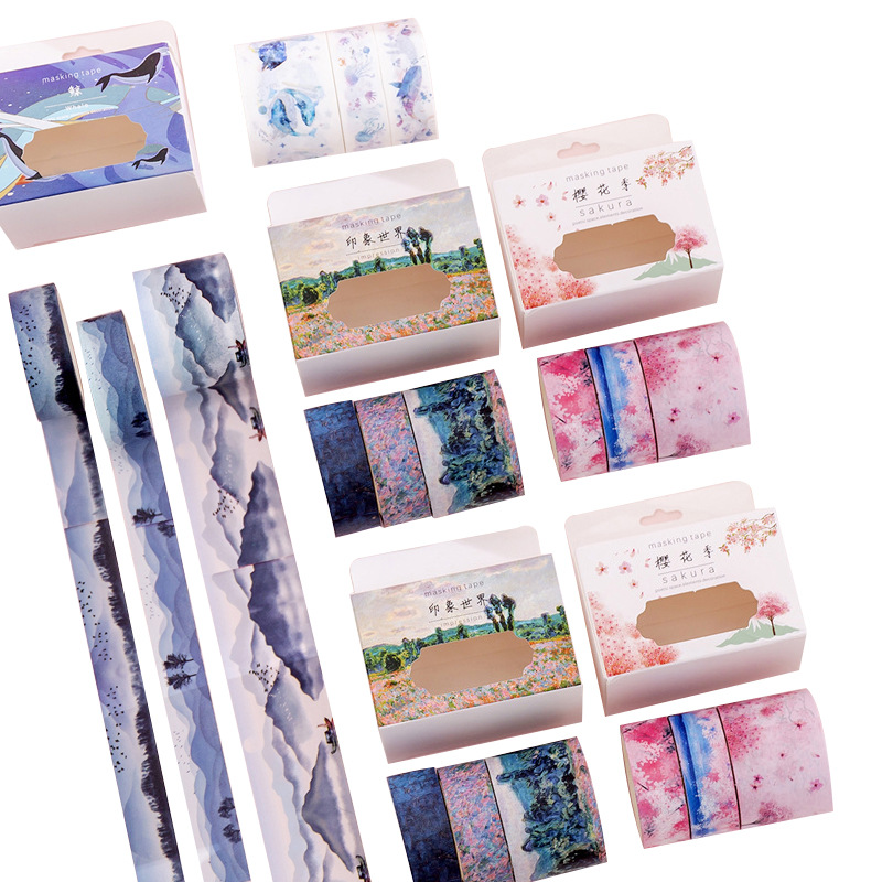 3pcs/set Mountain Landscape Paper Washi Tape Adhesive Tape Diy Scrapbooking Sticker Label Masking Tape