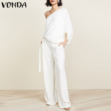 Rompers Women Jumpsuits Trousers Long-Pants VONDA Sexy One-Shoulder Plus-Size BELTED