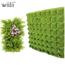 Wall Hanging Planting Bags 4/9/18/49/72 Pockets Green Grow Bag Planter Vertical Garden
