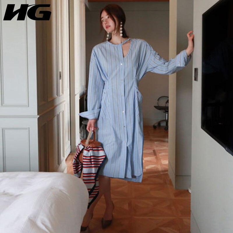 HG rayures robe femmes Style coréen Split dames robes taille était mince simple boutonnage à manches longues femmes vêtements 2019 XJ1864