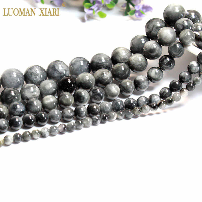 Natural Stone Beads Smooth Beads Natural Hawk/'s Eye Stone Beads Grade AAA+6810mm Beads. DIY Jewelry Making Bracelet Necklace Beads