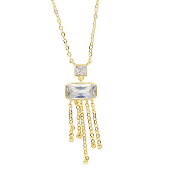 Free Gift Big Square CZ Stone Link Chain Pendant Choker Necklace for Women Geometric Tassel Wedding Jewelry Gold Silver Color image