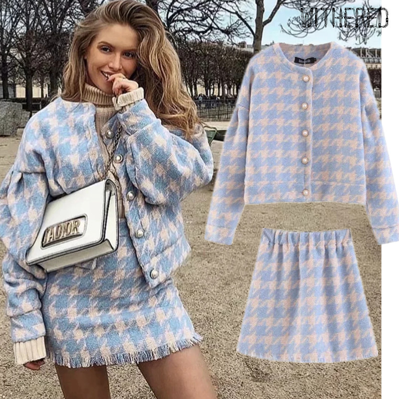 Withered Two Pieces Set Women England Winter Vintage Plaid Elegant Woollen Court Gold Buttons Jacket Blazers Mini Skirts Women
