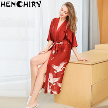 HENCHIRY lace sexy women nightwear ice silk nightdress Lace bathrobe pajama luxury Cannes Fashion crane evening dress