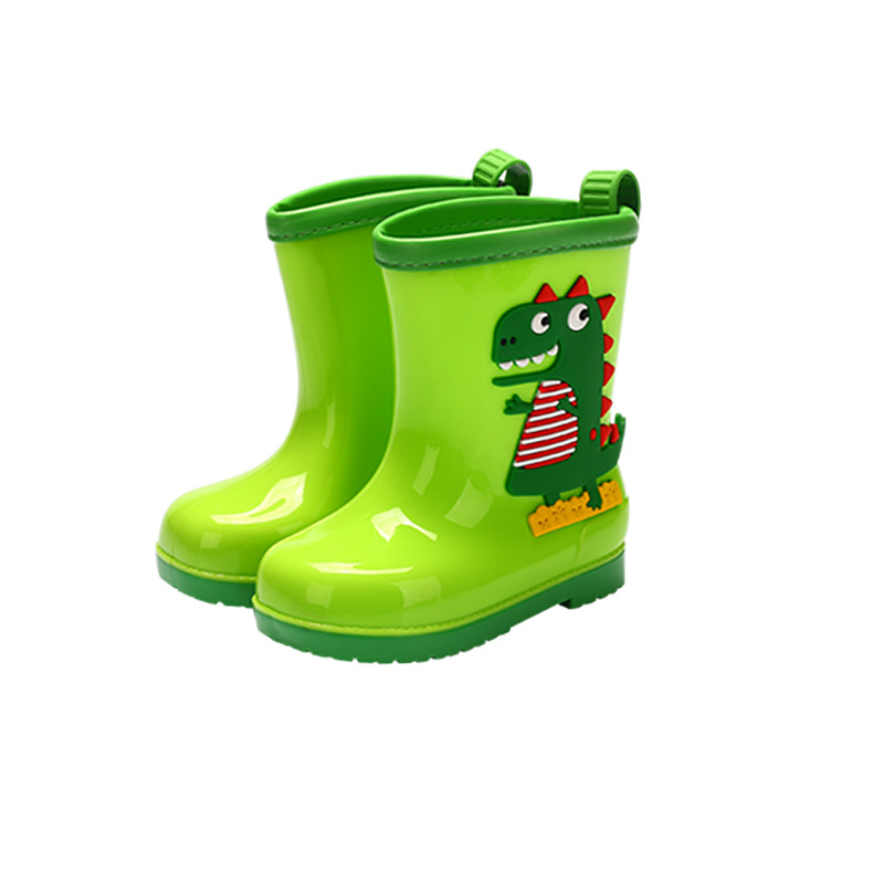 Rain Boots Kids Winter Girl Cute 3D Dinosaur Children's Boys Boots Plush Warm Ankle PVC Waterproof Baby Water Shoes Rainboots