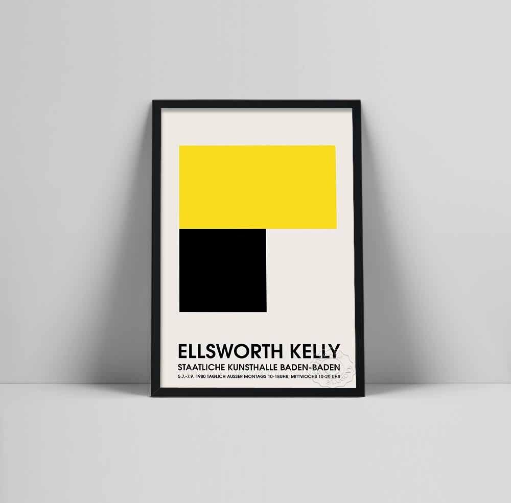 Ellsworth Kelly exhibition poster, Ellsworth Baden Baden print, Los Angeles California, Art Exhibition poster, Ellsworth Kelly