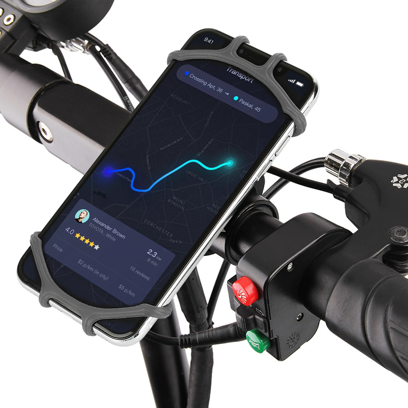 360° Adjustable Handlebar Mount Mobile Phone Holder Silicone Anti-slip Elastic
