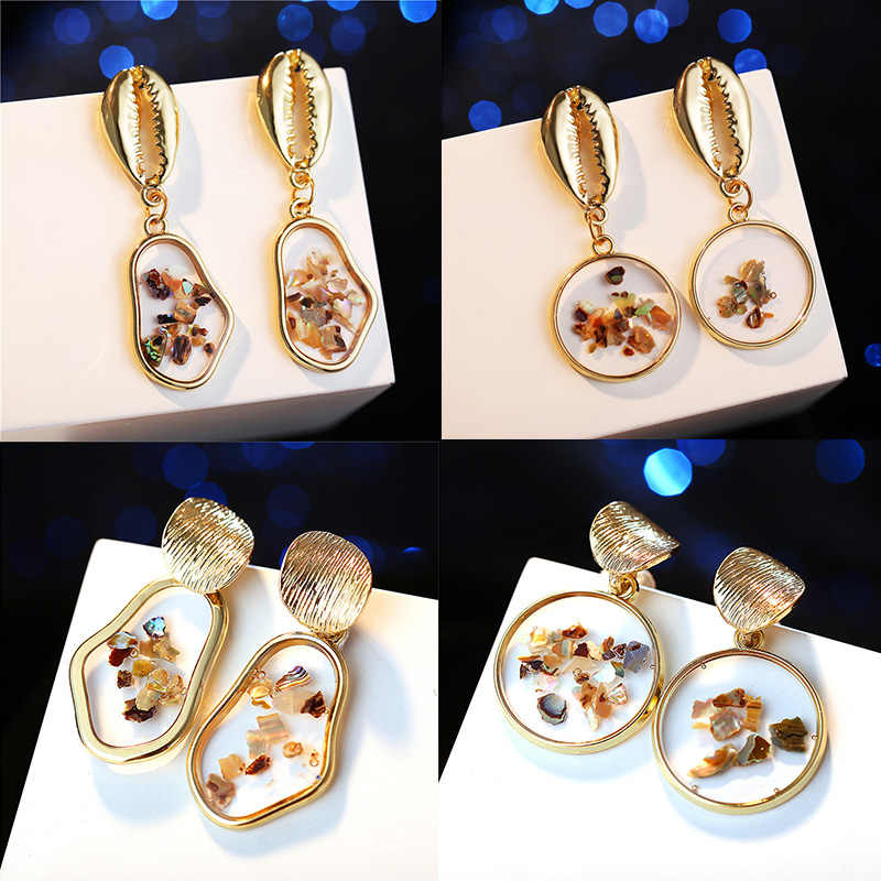 IF YOU New Shell Geometric Korean Fashion Earrings For Women Round Heart Gold Color Vintage Dangle Drop Earrings Jewelry 2019
