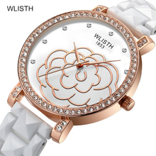 Ladies Watch Inlaid with Shiny Diamond Large Flower Dial Special White Ceramic Strap Watch Top Waterproof Quartz Woman Watch canvas strap watch with flower face
