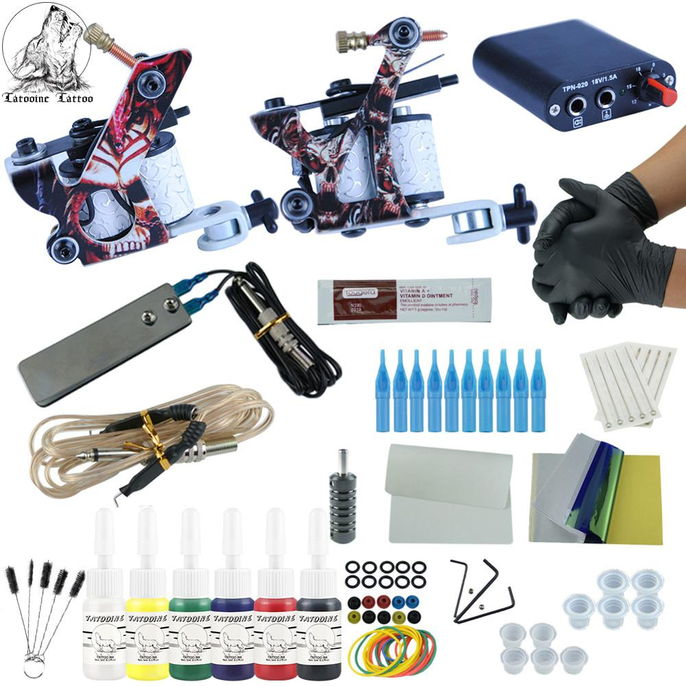 Tattoo Kit 2 Coils Guns 6 Colors Black Pigment Sets Permanent Makeup Machine Tattoo Power Pedal Supply Tattoo Machine Grip