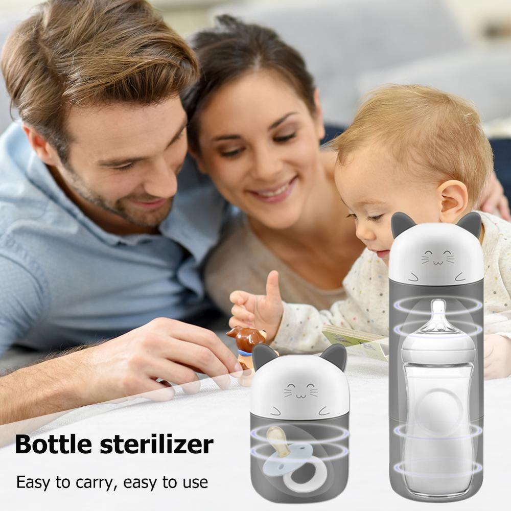 UV Baby Feeding Bottle Sterilizer One-button Portable Cartoon 6 Minutes Pacifier Disinfector With Safe Child Lock