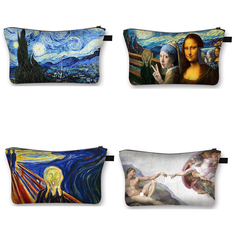 Van Gogh / Michelangelo / Da Vinci Art Cosmetic Bag Women Fashion Makeup Bag Starry Night / David / Mona Lisa Ladies Cosmetic Ca