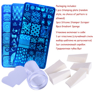 Image 3 - 1 Set Nail Art Stamping Plates Geometry Lace Animals With Sponge Stamper Scraper Stencils For Nail Polish Template LA804
