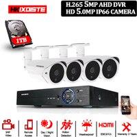 H.265 CCTV DVR 4CH 5MP видео Surverillance система AHD комплект 5MP наружная HD камера водонепроницаемая камера видеонаблюдения CCTV система Комплект