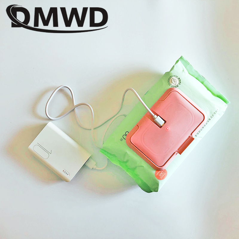 DMWD USB Portable Baby Wipes Heater Thermal Warm Wet Towel Dispenser Napkin Heating Box Cover Home/Car Mini Tissue Paper Warmer