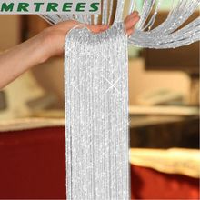1x2m String Curtain Shiny Tassel Line Curtains For Living Room Kitchen Window Door Divider Drape Decor Valance cheap MRTREES Translucidus (Shading Rate 1 -40 ) Tulle Left and Right Biparting Open Ceiling Installation M179 Yarn Dyed French Window